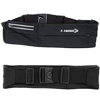 E Tronic Edge Running Belt for Women & Men - Money Belt and Running Fanny Pack Holder for Cell Phone Money and Keys - Pouch fits Most Phone and Waist Sizes Black