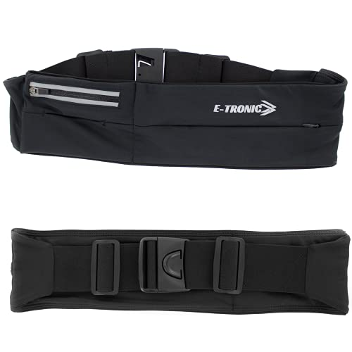 E Tronic Edge Running Belt for Women & Men - Money Belt and Running Fanny Pack, Holder for Cell Phone, Money, and Keys - Pouch fits Most Phone and Waist Sizes, Black