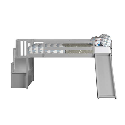 A-myt cómodo y hermoso Gray, digno de interiores, las escaleras resistentes hacen el trabajo de ingresar a la litera superior confiable y ligera, de rieles deslizantes, con casilleros de escalera, cam