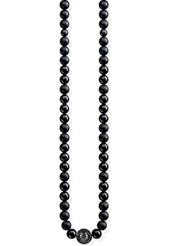 THOMAS SABO - Cadena con Colgante de Hombre Power Necklace, Plata de Ley 925, Negro, 100 cm