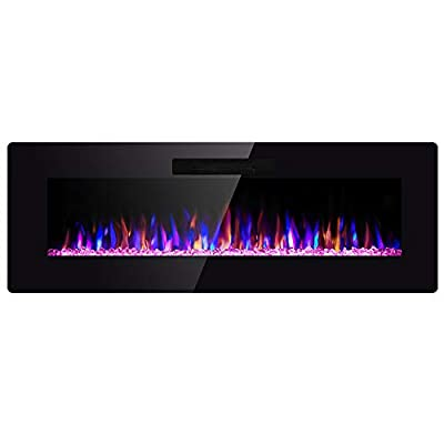 "SUNLEI 50"" Electric Fireplace, in Wall Recessed & Wall Mounted Linear Electric Heater LED Multi-Color Adjustable Flame Modern with Timer, Touch Screen, Remote Control, 750-1500W, Black"