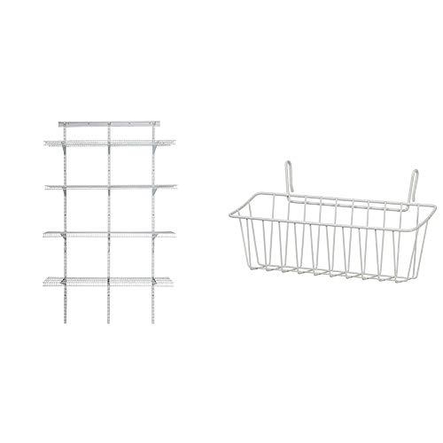 ClosetMaid 2845 ShelfTrack 4ft. Pantry Organizer Kit, White & 3937 Large Packet Pal, White