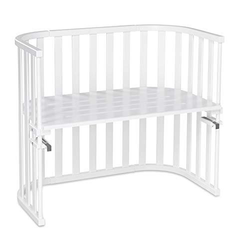 babybay Maxi Advance Beistellbett aus massivem Buchenholz I Kinderbett Höhe stufenlos verstellbar & umweltfreundlich I mitwachsendes Babybett, weiß lackiert
