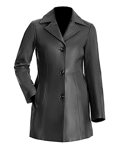 TIPTOP Gabardina de cuero para las mujeres de cuero genuino 3 botones abrigo largo negro y marrón