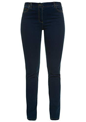 GINA LAURA Damen bis 50, 5-Pocket-Jeans Julia, Shaping-Effekt, Straight Leg, elastischer Bund, Stretch-Denim, darkblue 46 100220 93-46