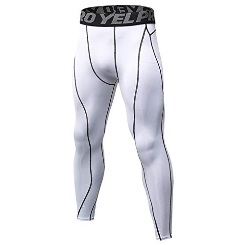 YABAISHI Mannen PRO Sport Pants Fitness loopband Training Pants ademend sneldrogend Stretch Tights (Color : White, Size : XXL)