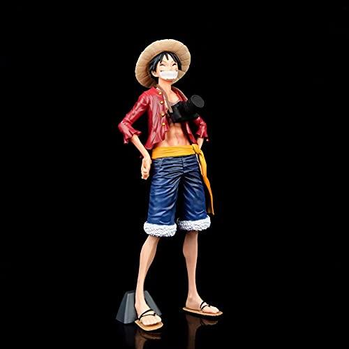 QIYHBVR One Piece GK Smiley Camera Sombrero De Paja Luffy Postura De Pie Tres Expresiones Caras Reemplazables Figura En Caja Figuras De Anime Muñeca De Juguete Decoración De Escritorio Altura27cm