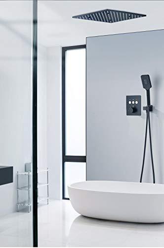 Juego de grifería para ducha de baño para bañera termostática empotrada, latón cuadrado negro mate mate LED estilo agua de lluvia montado en la pared-A,LFSUVZCEWIQDD