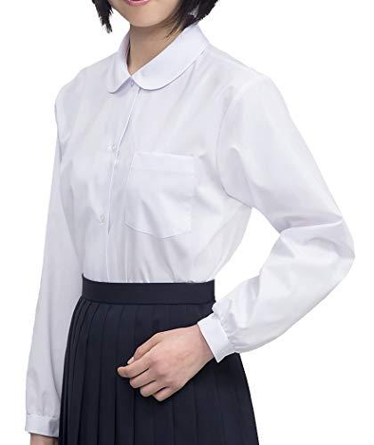 品 スクール オフィス 丸襟 抗菌防臭 ノーアイロン ショールブラウス 女子160長袖