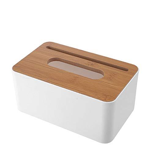LEZED Caja de Pañuelos con Tapa Rectangular de Bambú Soporte de Pañuelos Caja de Pañuelos Blanca con Cubierta de Madera para la Oficina en Casa Baño Decoración de Automotive 20 x 12.5 x 9.5cm