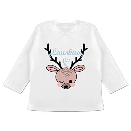 Oktoberfest & Wiesn Baby - Lausbua REH - 3/6 Monate - Weiß - Baby Trachten - BZ11 - Baby T-Shirt Langarm