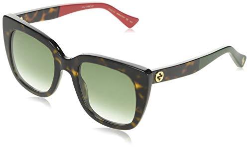 Gucci GG0163S-004 Gafas de sol, Havana/Rojo/Verde, 51 para Mujer