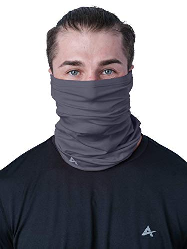 Arctic Cool Instant Cooling UPF 50+ UV Protection Neck Gaiter, Face Mask, Headband | 12-in-1 Excellent Sun Protection for Fishing, Boating, Face Protection, Gardening, Working, Storm Grey