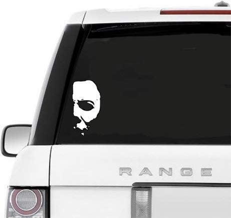 A&B Trader's Car Decals Michael Myers Creepy Half Face 5.8' White Vinyl Decals Scary Horror Movies Creepy Halloween Stickers for Cars, Laptops (White)
