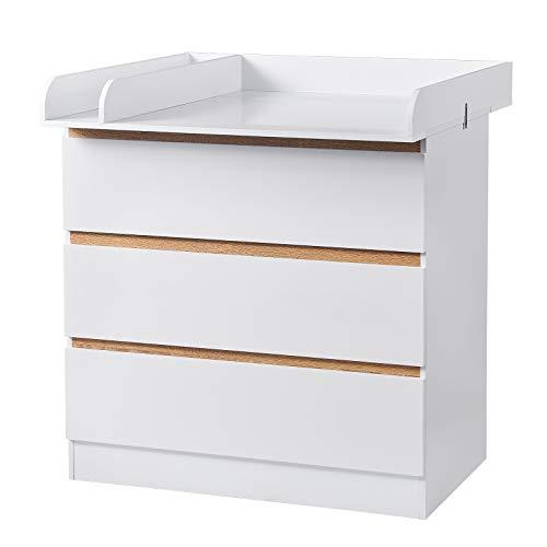 WOLTU Wickeltisch Wickelstation mit 3 Schubladen Wickelkommode Babymöbel aus Spanplatte und MDF Weiß WT002+WT003