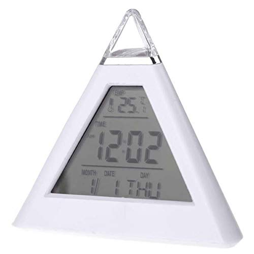 Boon Earthie 1 x 7 Colors LED Change LCD Digital Alarm Clock Pyramid Night Light Thermometer Bedroom Desk Modern Living Room Kitchen Gift Present Anniversary Wedding Home Office Colorful