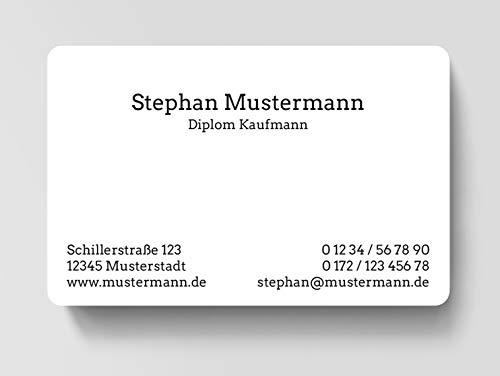 100 Visitenkarten, laminiert, 85 x 55 mm, inkl. Kartenspender - Classic Business