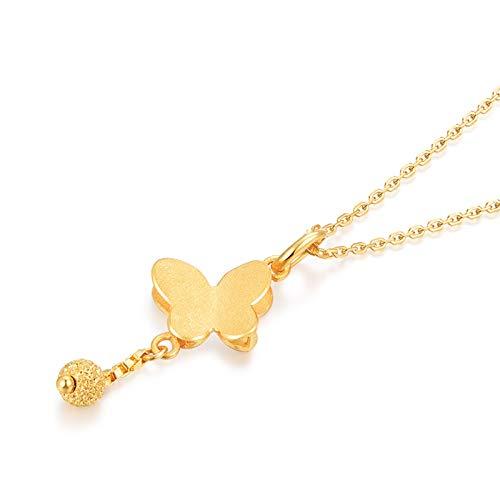 Beydodo Colgante de Mujer Oro Amarillo 18K Mariposa con Bola Collar Oro