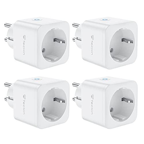 WiFi Enchufe Inteligente 16A 3680W Mini Smart Plug Funciona con Siri Amazon Alexa Echo, Google Home, Control remoto con temporizador, 4 paquetes