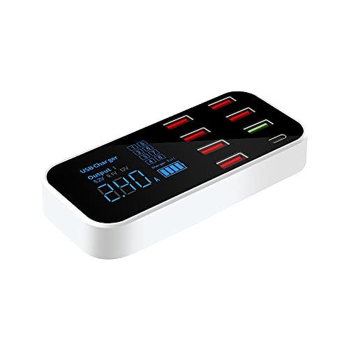 MY99 USHOMI Cargador USB 40W QC 3.0 Hogar Pantalla LED de 8 Puertos Adaptador de concentrador de Carga de teléfono multipuerto Estación de Carga EE. UU.