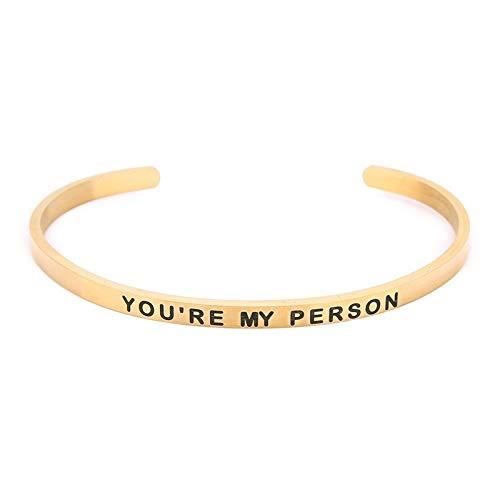 BDTLBJ Pulsera con letras en inglés «You're My Person» chapada en acero inoxidable auténtico (color: dorado).