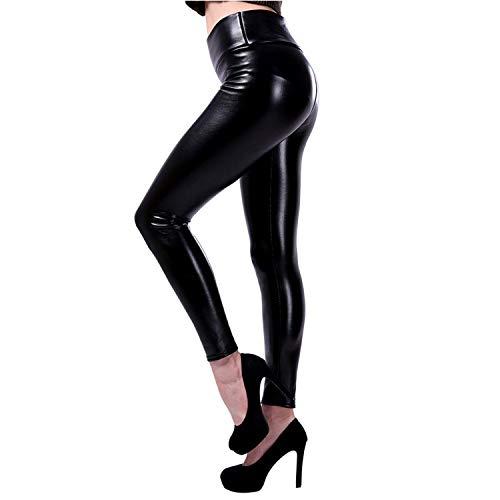 Zooma Damen Wetlook Lederhose Stretch Skinny Leggings, High Waist Schwarz Kunstleder Hose, Plus samtverdickende äußere Gamaschen waren Lederhosen