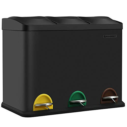 SONGMICS Mülleimer für die Küche, Abfallbehälter, 45 Liter, Abfalleimer mit Inneneimer, Mülltrennsystem, Treteimer aus Edelstahl, 3 x 15 Liter, schwarz LTB45B