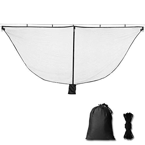 Alucky Hammock Net Camping Mosquito Net, No See Ums & Repels Insect, Polyester Netting for 360 Degree Protection, Double Sided Zipper for Easy Access Fits for All Camping Hammocks(Black