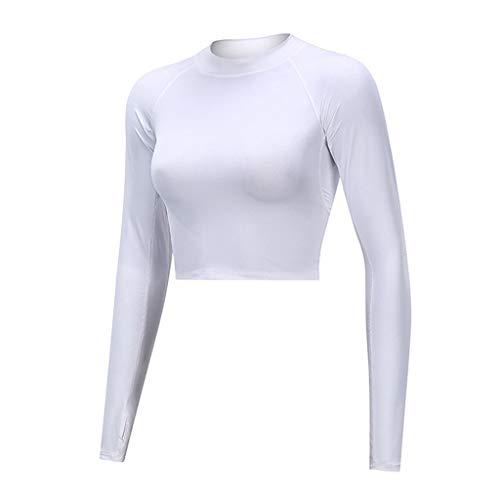 generisch Damen Sport T-Shirt Langarm Laufshirt - Fitness Sweatshirt Laufjacke Running Tops Frauen Pure Color Langarm Tight Fitness Laufen Yoga Jacke Tops