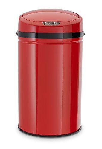 Echtwerk EW-AE-0290 Edelstahl Abfalleimer 30L mit IR Sensor, Inox Red