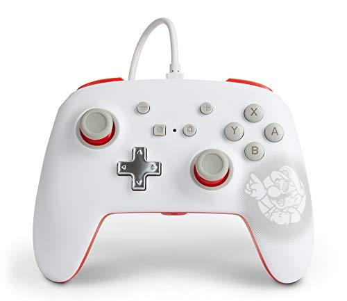 PowerA Enhanced Wired Controller for Nintendo Switch - Mario White, Gamepad, Wired Video Game Controller, Gaming Controller - Nintendo Switch