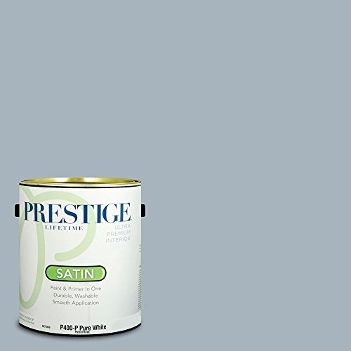 Prestige Paints P400-P-MQ5-23 Interior Paint and Primer in One, 1-Gallon, Satin, Comparable Match of Behr Intercoastal Gray, 1 Gallon, B43-Intercoastal