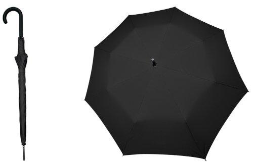s.Oliver Paraguas Long AC City – Paraguas largo resistente a las tormentas, apertura automática – para una protección óptima – Negro
