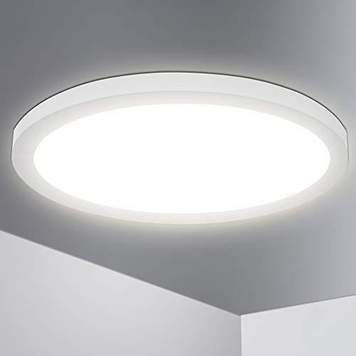 Lumare LED Deckenleuchte 24W Extra Flach rund 1800lm 330mm IP44 Deckenlampe für Wohnzimmer Badezimmer Küche Flur Keller Bad Wandleuchte Einbaustrahler Aufbaustrahler modern warmweiß