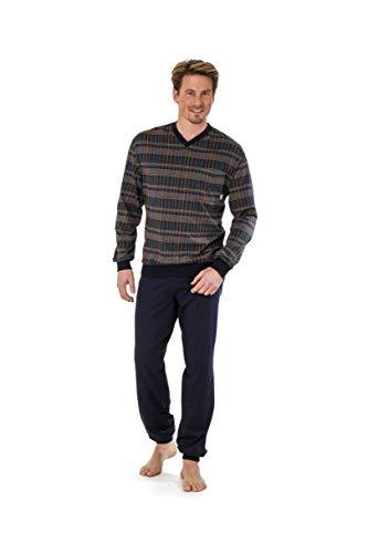 hajo Pyjama Schlafanzug 53029 699 Marine/braun kariert, Größe:52-L
