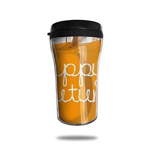Taza de café de viaje con impresión 3D, taza de té, taza de agua aislada, taza de viaje para hombres, mujeres y niñas, dibujos animados feliz otoño calabaza