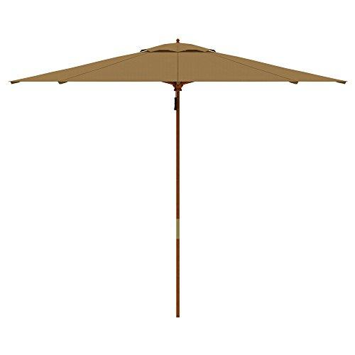 paramondo parakoala Holz-Sonnenschirm Gartenschirm, Sonnenschutz, Gestell u. Mast aus nachhaltigem Eukalyptusholz, Ø 3 m, Höhe 2,50 m, UV-Schutz 40+, rund, Creme