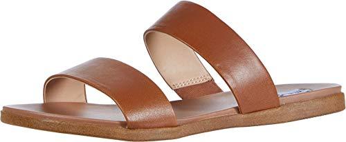 Steve Madden Women's Dual Flat Sandal, Tan Leather, 7