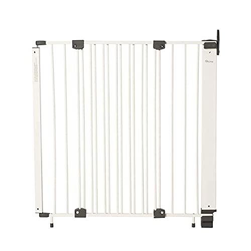 Geuther - Treppenschutzgitter Purelock aus Metall für Kinder/Hunde, Befestigung mit Schrauben/Klemmen am Geländer, verstellbar, 61 - 107 cm weiß-silber