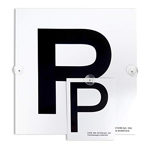 """4R Quattroerre.it 1571a Contrassegno """"P"""" Principiante con Ventose, Set di 2 Pezzi Anteriore + Posteriore"""