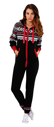 SKYLINEWEARS Womens Onesie Fashion Playsuit Ladies Jumpsuit Black Red-Stripe M