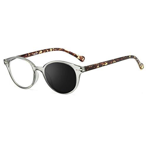 EYEphd Gafas de Lectura para Mujer Lector de Exteriores fotocromático HD, Marco Redondo Retro Lente de Resina asférica 1,56 / UV400 Dioptrías +1.0 a +3.0,02,+2.0