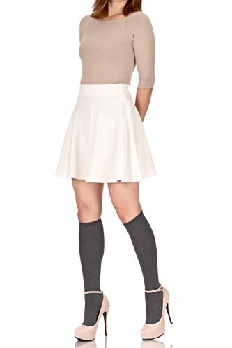 Basic Solid Stretchy Cotton High Waist A-line Flared Skater Mini Skirt (M, Ivory White)