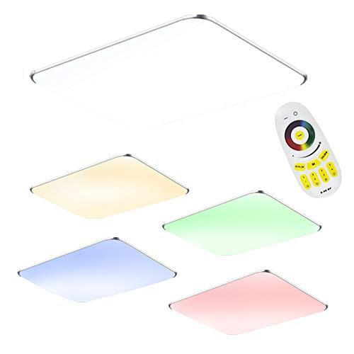 64W LED Deckenleuchte mit Fernbedienung RGB Dimmbar - Modern Ultraslim led panel deckenlampe - Küche Wohnzimmer Schlafzimmer Wandlampe (64W RGB)