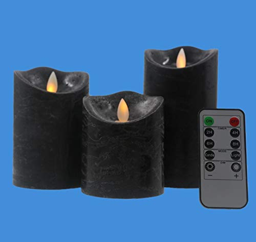Kitch Aroma Black flameless Candles, Battery Operated LED Pillar Candles with Moving Flame Wick, Remote Control and Timer,Pack of 3