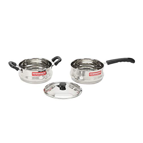 SOWBAGHYA Ultima Stainless Steel Cooking Pot With Lid And A Milk...