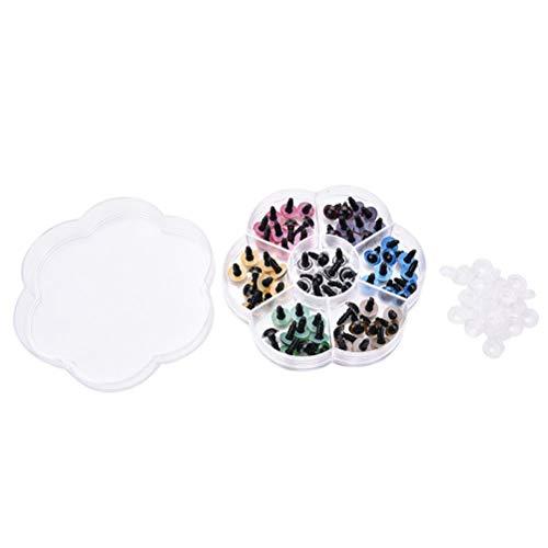 70 Stück 7 Farben 10mm Kunststoff-Sicherheits-Augen mit Unterlegscheiben for Teddybär-Puppe, Kuscheltiere, Marionette, Puppen machen lsmaa