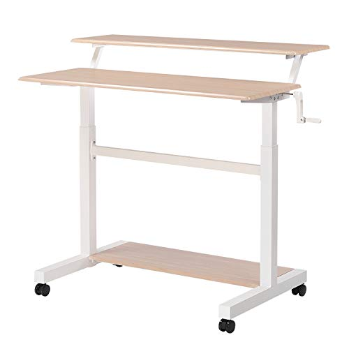 UNICOO – Crank Adjustable Height Standing Desk, 2 Tier Adjustable Sit to Stand up Desk, Mobile Standing Desk, Rolling Table – (White Frame/Light Oak Top-2T-Crank)