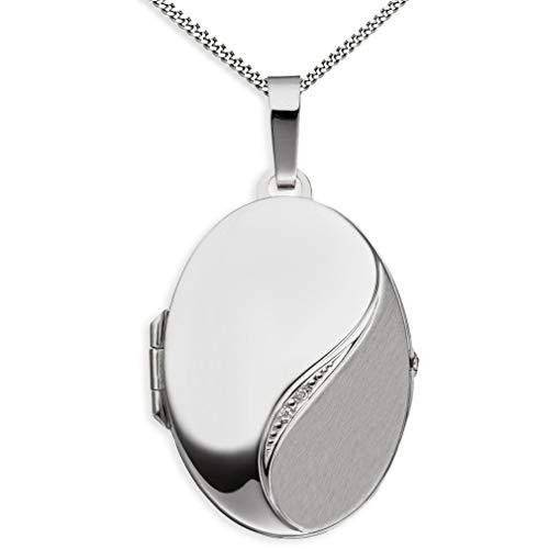 Medaillon teilmattiert Diamant-Brillanten verziert oval 585 Weißgold zum öffnen für Bildereinlage 2 Fotos Amulett von Haus der Herzen® + Kette mit Schmuck-Etui