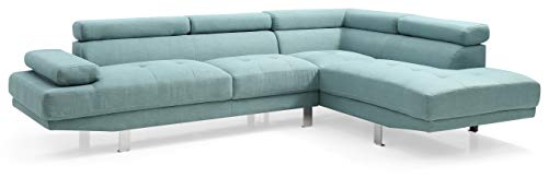 Glory Furniture Riveredge Sectional, Teal. Living Room Furniture, 28' H x 109' W x 34' D